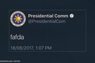 """Mesaj bizar pe Twitter al președinției statului Filipine: """"fafda"""""""