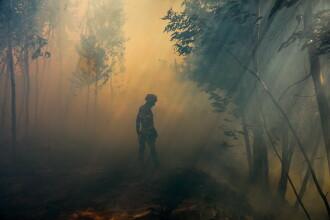 Un pompier era să ardă de viu când stingea un incendiu de vegetaţie.