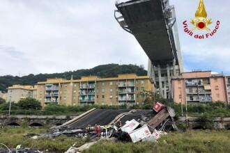 VIDEO cu momentul în care podul Morandi din Genova se rupe în două, provocând o tragedie