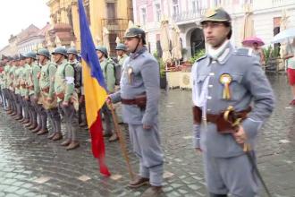 Reconstituire emoționantă în Timișoara, pe o ploaie torențială: Unirea Banatului cu România
