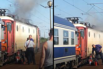 Incendiu violent la o locomotivă, în Prahova. 350 de călători, evacuați. VIDEO