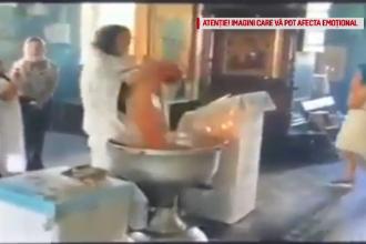 Reacția preotului care a brutalizat un bebeluș la botez, când o vede pe mama copilului