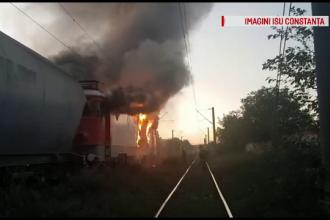 Locomotivă în flăcări, la Constanța. Ce transporta