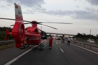 Accident grav pe A1: sunt 6 răniți, dintre care 2 gemeni. Intervine elicopterul SMURD
