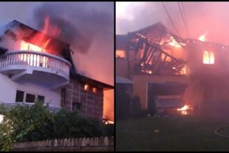 Incendiu în Chitila, la casa unui interlop. Pompierii intervin cu 14 autospeciale