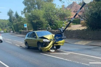 Un bărbat a intrat cu mașina într-un indicator rutier, în timp ce încerca să scape de un păianjen de pe scaun. FOTO