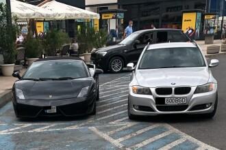 Lamborghini parcat pe locul rezervat persoanelor cu handicap, la un mall din Capitală