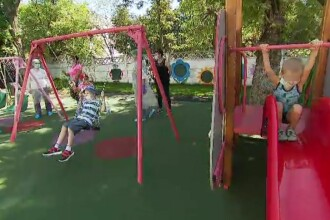 Voluntarii au transformat curtea Institutului Oncologic într-un loc de joacă pentru copiii grav bolnavi