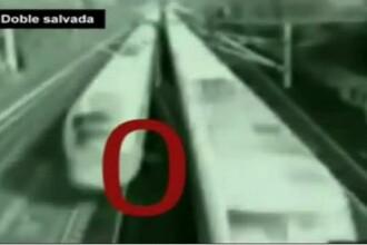 Asta da noroc! La un pas sa fie lovit nu de unul, ci de doua trenuri! VIDEO