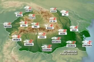 Frig si vreme inchisa in majoritatea regiunilor. Vezi prognoza meteo