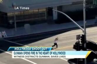 VIDEO. Un tanar inarmat sta pe mijlocul unei sosele din Hollywood si trage la intamplare in masini