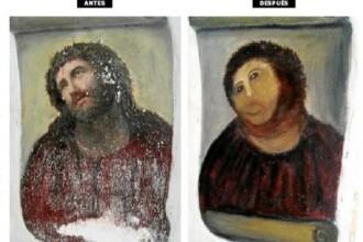 FOTO. Pictorita care a distrus o capodopera incercand sa o restaureze si-a scos la vanzare un tablou