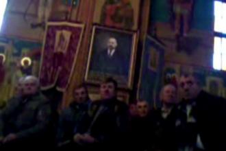 Tabloul cu chipul lui Pavel, omul de afaceri, nu sfantul, intr-o biserica din Bistrita Nasaud