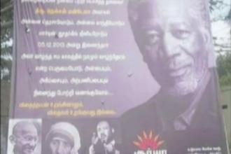 Un indian care a vrut sa-l omagieze pe Nelson Mandela l-a confundat cu Morgan Freeman