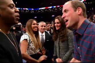 Printul William si ducesa de Cambridge s-au intalnit cu Beyonce si Jay Z la un meci din campionatul nord-american de baschet