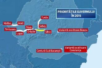 Lista segmentelor de autostrada care apar printre prioritatile Guvernului.