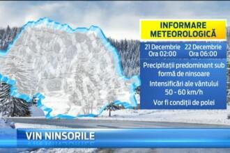 Ninsori, polei si vant puternic in toata Romania. Ce se intampla cu vremea in urmatoarele doua zile