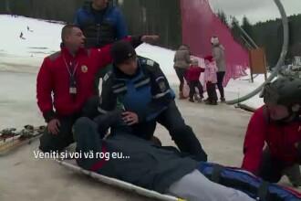 Incidente pe partiile de la munte. Un tanar care schia si-a rupt piciorul, iar un altul a fost lovit in cap de o sanie