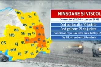 VIN ZAPEZILE: Cod portocaliu de ninsori in 10 judete. In mai multe zone din sudul tarii ar putea fi emis COD ROSU