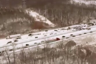 O autostrada din Michigan, blocata pret de cateva ore din cauza unui accident. 33 de autoturisme, implicate in carambol