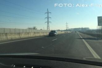 Imagini incredibile surprinse de un pilot de raliu pe autostrada. Un sofer a mers pe contrasens pe A1. FOTO