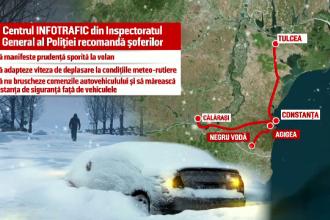 Vremea rea s-a mutat in sudul tarii. Strat de zapada de 40 de cm in Constanta. Mai multe autovehicule au ramas blocate