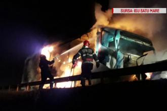 Accident șocant în Satu Mare. O mașină a ars cu tot cu șofer după ce s-a izbit de un TIR