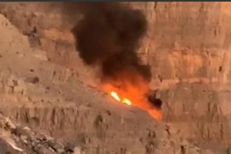 Momentul în care un elicopter se prăbușește, în Emiratele Arabe, din cauza unei tiroliene