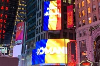 România, sărbătorită în Statele Unite. Mesajul afișat în Times Square din New York