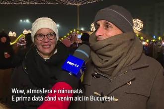 Reacția unor turiști străini aflați pentru prima dată la Târgul de Crăciun din București