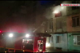 Incendiu puternic într-un bloc din Galați. Un bebeluș a fost intoxicat cu fum