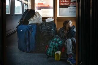 Greta Thunberg s-a plâns că a trebuit să călătorească într-un tren aglomerat în Germania