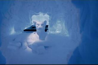 Imagini de vis din hotelul de gheță construit în Suedia, copiat după cel de la Bâlea Lac