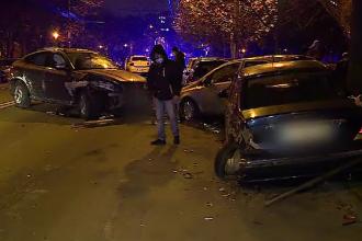Accident în lanț produs în București. Opt mașini au fost grav avariate