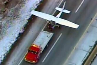 Pilotul unui avion experimental a aterizat de urgenta pe o sosea