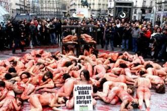 Au protestat in pielea goala de dragul animalelor!
