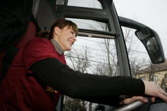 Roxana Ciuhulescu a condus autocarul oficial al echipei CFR Cluj