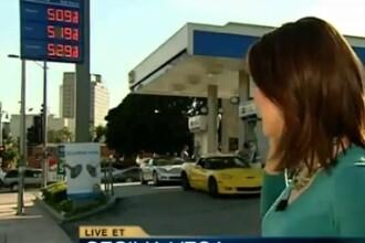 VIDEO. Pretul benzinei creste prea repede chiar si pentru o transmisiune in direct la TV