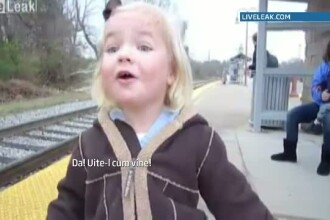 Fetita care a cucerit internetul. Cum se bucura atunci cand vede, pentru prima oara, ca vine trenul