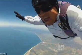 VIDEO. A vrut sa-si filmeze un salt cu parasuta, dar a lesinat. Ce a urmat dupa aceasta imagine