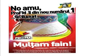 ProFM a cucerit definitiv ascultatorii din zona de nord-vest a tarii la finalul anului 2013