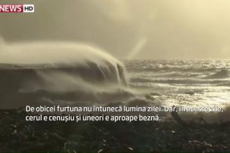 Valuri de 14 metri inaltime in sudul Angliei. Apele involburate au scos la iveala fosile de dinozaur din Jurasic