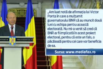 Traian Basescu ataca BNR, din cauza ElectoRatei: