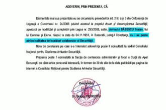 CNSAS a eliberat un nou document despre legatura presedintelui Traian Basescu cu fosta Securitate