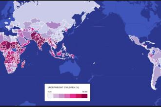 O harta a lumii cu o statistica ingrijoratoare. Tarile cu cel mai mare numar de copii subnutriti