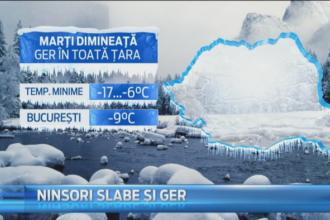 Ninsori, ger si vant in toata tara, in acest weekend. Meteorologii au anuntat temperaturi si de -17 grade Celsius