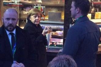 Angela Merkel, surprinsa de un jurnalist la un fast-food din Bruxelles. Comanda facuta de cancelarul german. VIDEO
