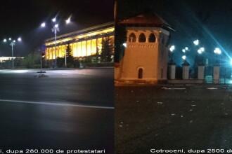 FOTO. Diferenta intre Piata Victoriei dupa 280.000 de protestatari si Palatul Cotroceni, dupa 2500 de protestatari
