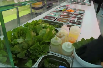 Salate preparate din verdețuri care cresc sub privirile clienților, într-un restaurant din Berlin