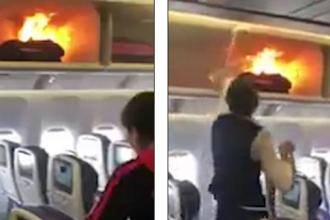 Bagajul unui pasager al China Airlines a fost cuprins de flăcări. VIDEO